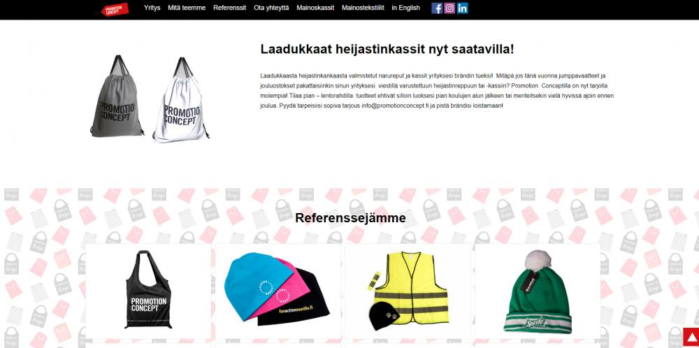 Promotionconcept.fi website front page