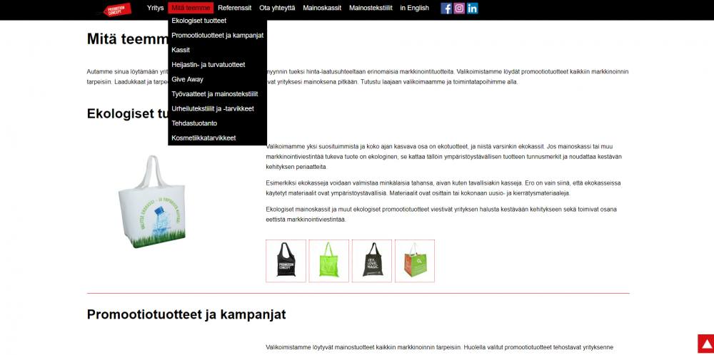 Promotionconcept.fi website drop down menu
